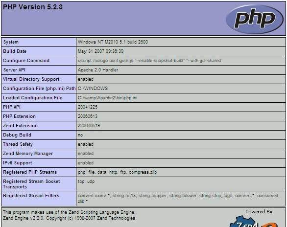 PHP info Function result